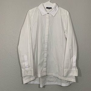 DKNY White Striped High Low L/S Button Up Shirt